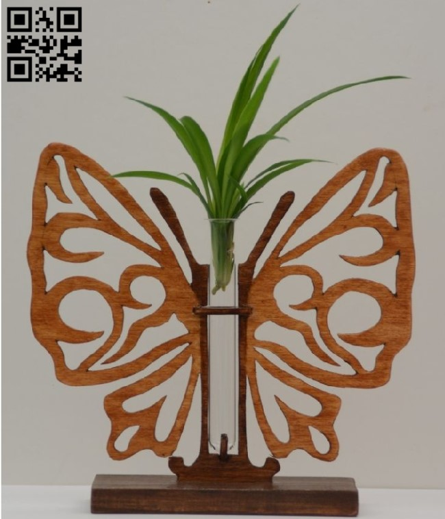 Flower Holder with butterfly E0010542 file cdr and dxf free vector download for Laser cut