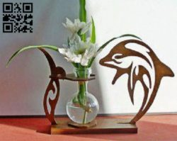 Flower Holder with dolphin E0010545 file cdr and dxf free vector download for Laser cut