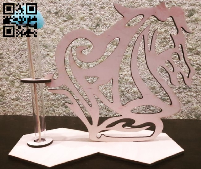 Flower Holder with horse E0010546 file cdr and dxf free vector download for Laser cut