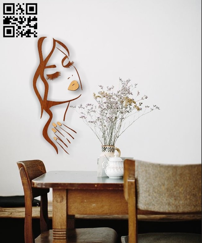 Girl making nails wall decor E0010451 file cdr and dxf free vector download for Laser cut