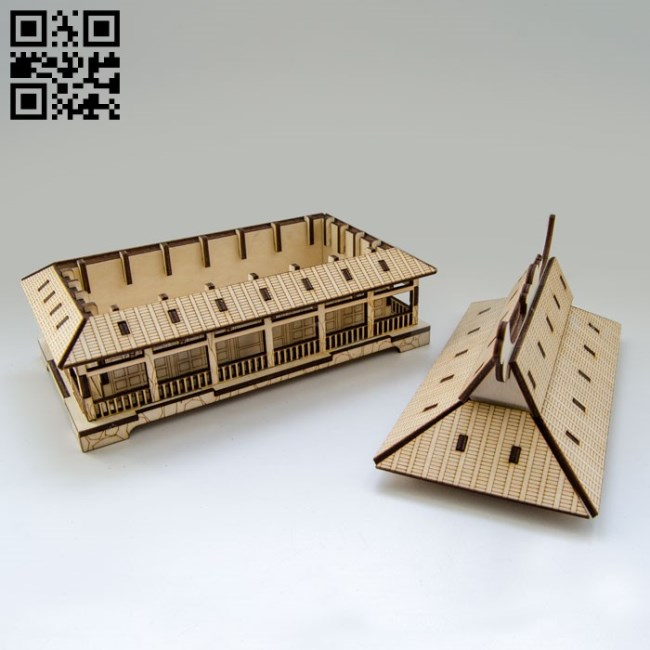 Japanese box houses file cdr and dxf free vector download for Laser cut