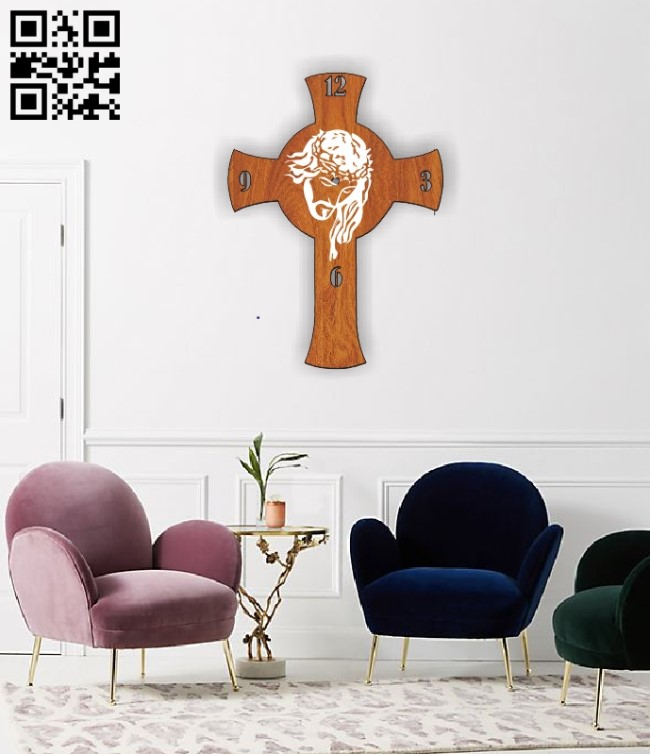 Jesus wall clock E0010474 file cdr and dxf free vector download for Laser cut