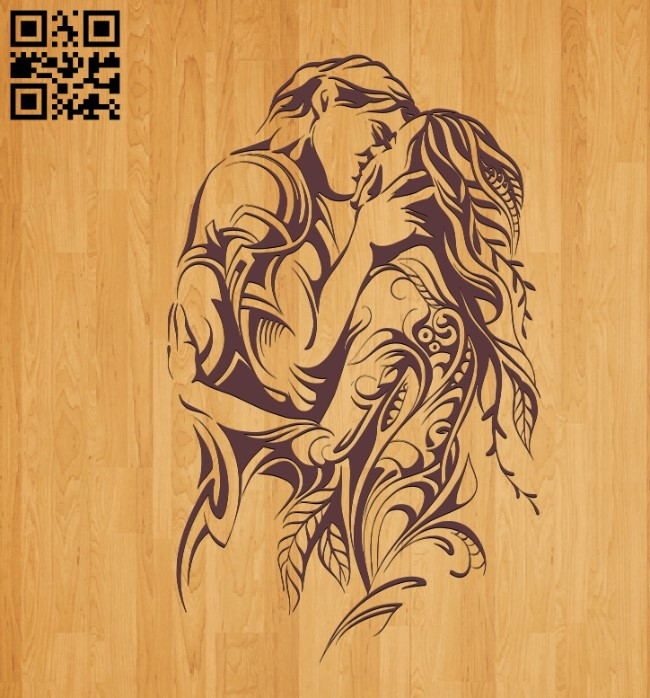 Loving couple E0010477 file cdr and dxf free vector download for laser engraving machines