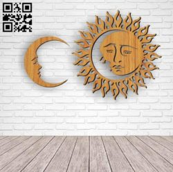 Moon and sun E0010447 file cdr and dxf free vector download for Laser cut