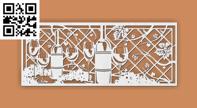 Pano with wine file cdr and dxf free vector download for Laser cut