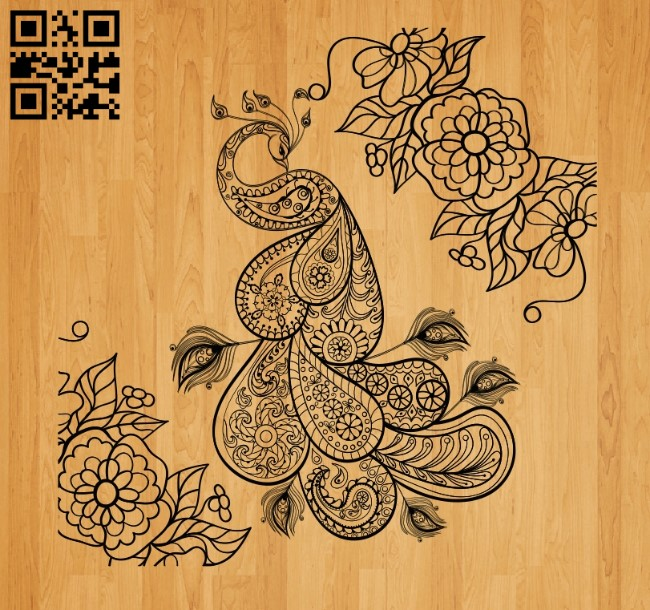 Peacock with flower E0010553 file cdr and dxf free vector download for laser engraving machines