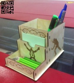Pen holder E0010488 file cdr and dxf free vector download for Laser cut