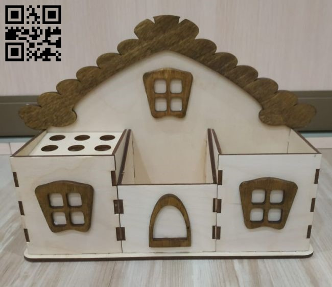 Pencil holder house E0010487 file cdr and dxf free vector download for Laser cut