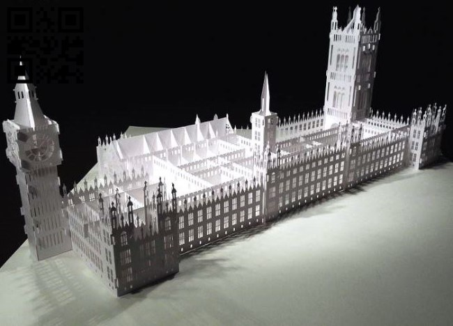 The Palace of Westminster paper cut E0010530 file cdr and dxf free vector download for Laser cut