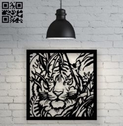 Tiger on the hunt E0010497 file cdr and dxf free vector download for Laser cut