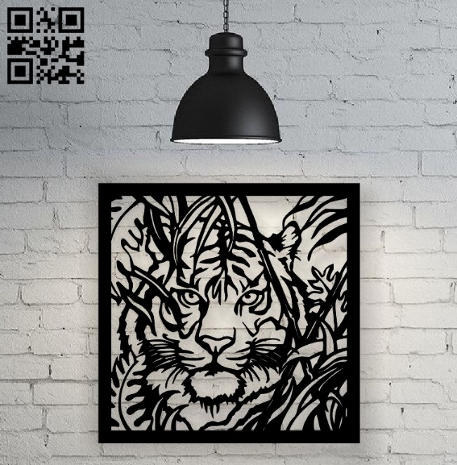 Tiger on the hunt E0010495 file cdr and dxf free vector download for Laser cut