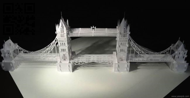 Tower Bridge paper cut E0010529 file cdr and dxf free vector download for Laser cut