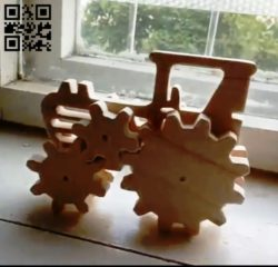Tractors and gears E0010517 file cdr and dxf free vector download for Laser cut
