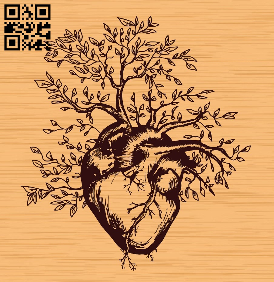 Tree heart E0010537 file cdr and dxf free vector download for Laser cutfile cdr and dxf free vector download for laser engraving machines