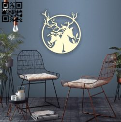 Two deer E0010504 file cdr and dxf free vector download for Laser cut