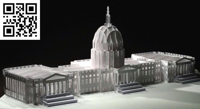 United States Capitol paper cut E0010479 file cdr and dxf free vector download for Laser cut