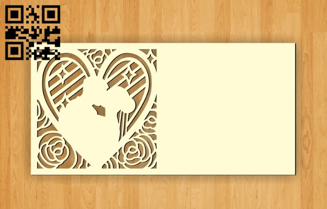 Wedding invitation E0010448 file cdr and dxf free vector download for Laser cut