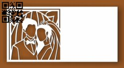 Wedding invitation E0010449 file cdr and dxf free vector download for Laser cut