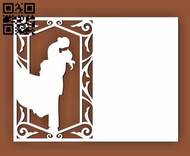 Wedding invitation E0010450 file cdr and dxf free vector download for Laser cut