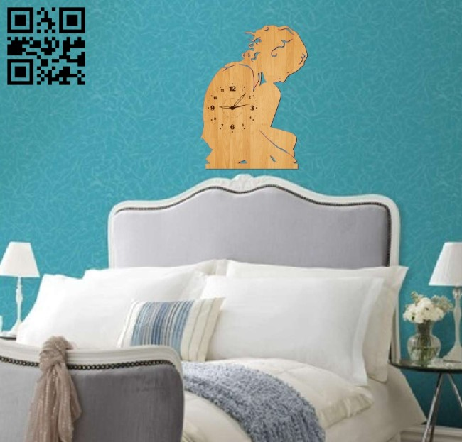 Woman wallclock E001044 5file cdr and dxf free vector download for Laser cut1