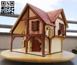 Wood house E0010538 file cdr and dxf free vector download for Laser cut