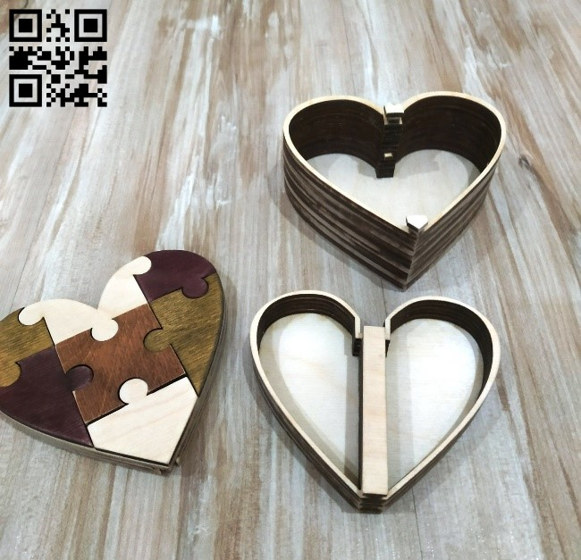 Wooden heart box E0010540 file cdr and dxf free vector download for Laser cut