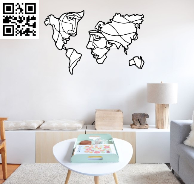World map with faces file cdr and dxf free vector download for Laser cut