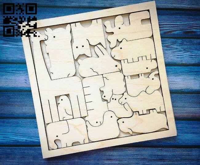 Animal puzzle E0010722 file cdr and dxf free vector download for laser cut