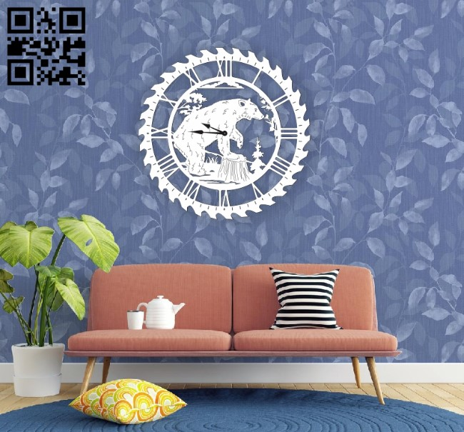 Bear wall clock E0010592 file cdr and dxf free vector download for Laser cut