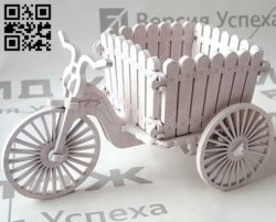 Bicycle flower basket E0010910 file cdr and dxf free vector download for Laser cut