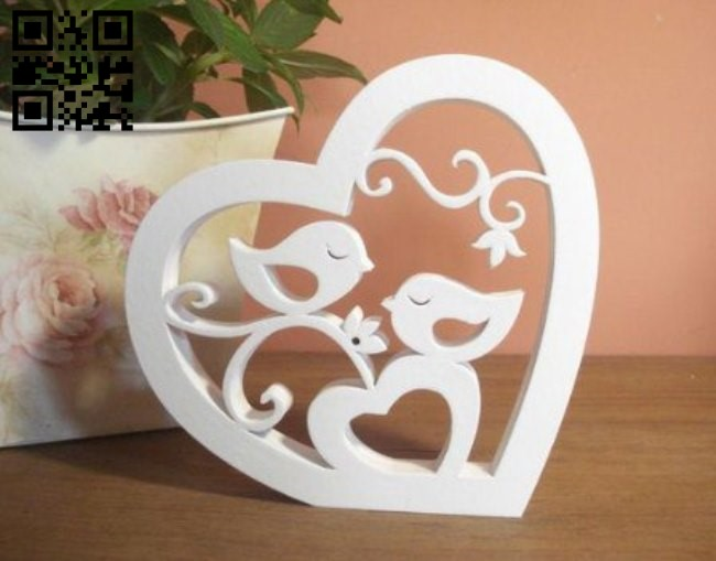 Birds in the love E0010779 file cdr and dxf free vector download for Laser cut