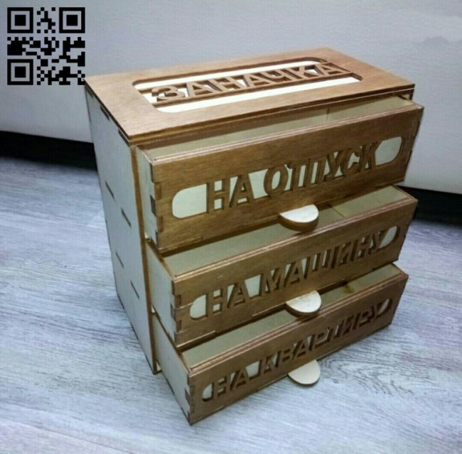 Box with drawers E0010736 file cdr and dxf free vector download for Laser cut