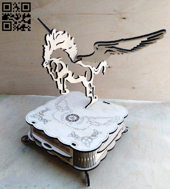 Box with pegasus E0010808 file cdr and dxf free vector download for Laser cut
