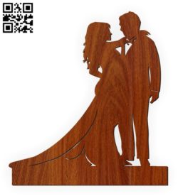 Bride and groom statue  E0010565 file cdr and dxf free vector download for Laser cut
