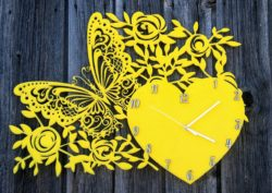 Butterfly and flowers wall clock E0010772 file cdr and dxf free vector download for Laser cut cnc