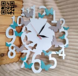 Butterfly wall clock E0010739 file cdr and dxf free vector download for Laser cut