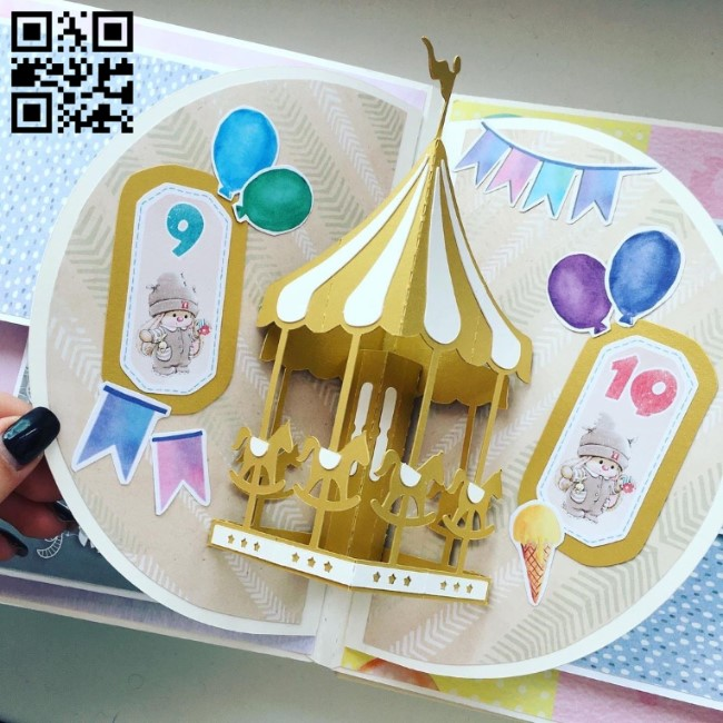 Carousel card 3D paper cut E0010619 file cdr and dxf free vector download for laser cut