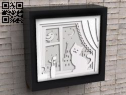 Cat on the window light box E0010883 file cdr and dxf free vector download for Laser cut