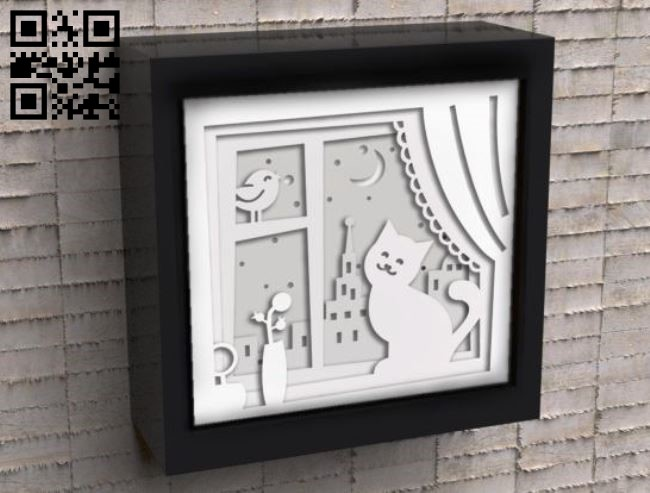 Cat on the window light box E0010884 file cdr and dxf free vector download for Laser cut