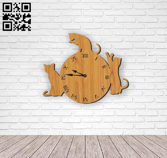 Cat wall clock E0010678 file cdr and dxf free vector download for Laser cut