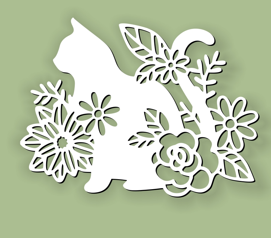 Cat with flower E0010614 file cdr and dxf free vector download for laser cut