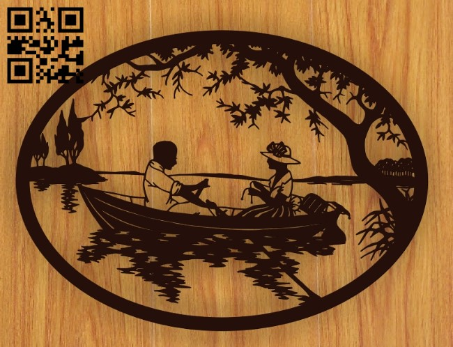 Couple on boat E0010768 file cdr and dxf free vector download for laser engraving machines