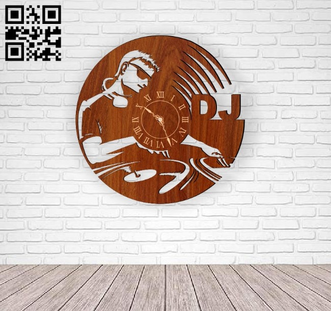 DJ wall clock E0010756 file cdr and dxf free vector download for Laser cut