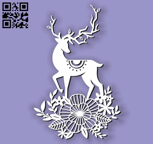 Deer with flowers E0010603 file cdr and dxf free vector download for Laser cut