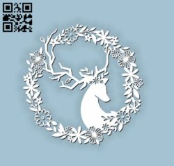 Deer with wreath E0010604 file cdr and dxf free vector download for Laser cut