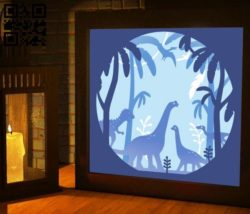 Dinosaur light box E0010884 file cdr and dxf free vector download for Laser cut