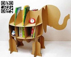Elephant bookshelf E0010743 file cdr and dxf free vector download for Laser cut