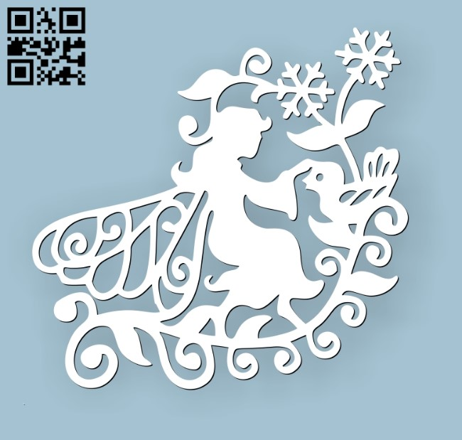Fairies with flowers E0010682 file cdr and dxf free vector download for Laser cut