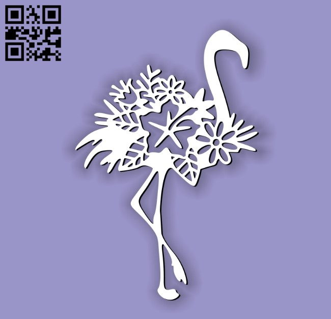 Flamingo with flower E0010615 file cdr and dxf free vector download for laser cut