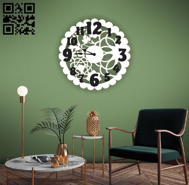 Flower wall clock E0010593 file cdr and dxf free vector download for Laser cut